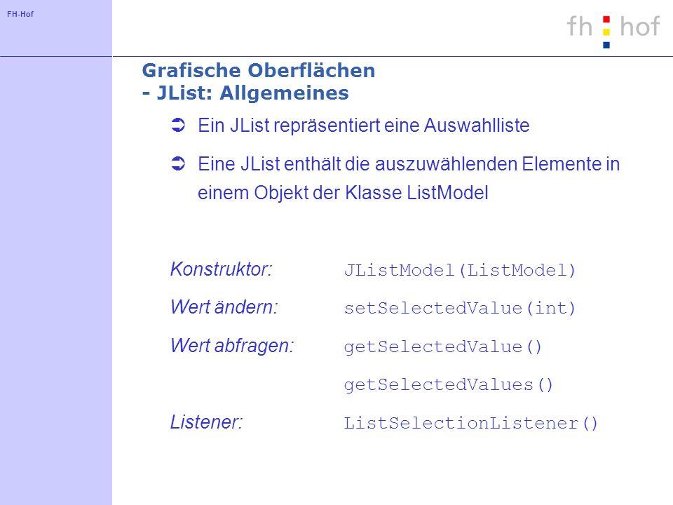 Grafische Oberflächen - JList: Allgemeines