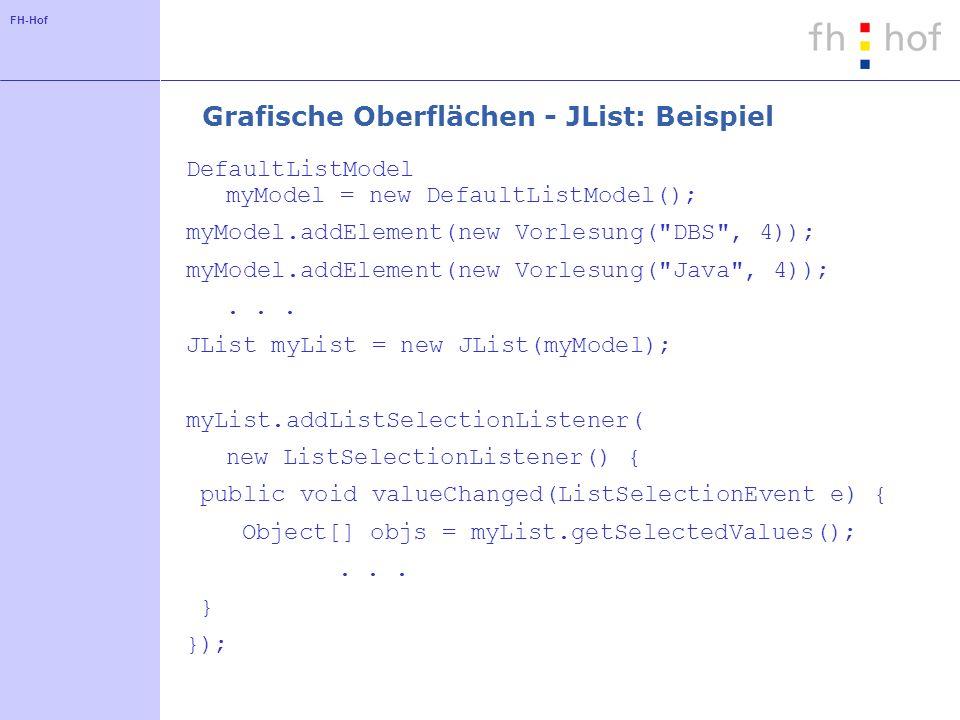 Grafische Oberflächen - JList: Beispiel