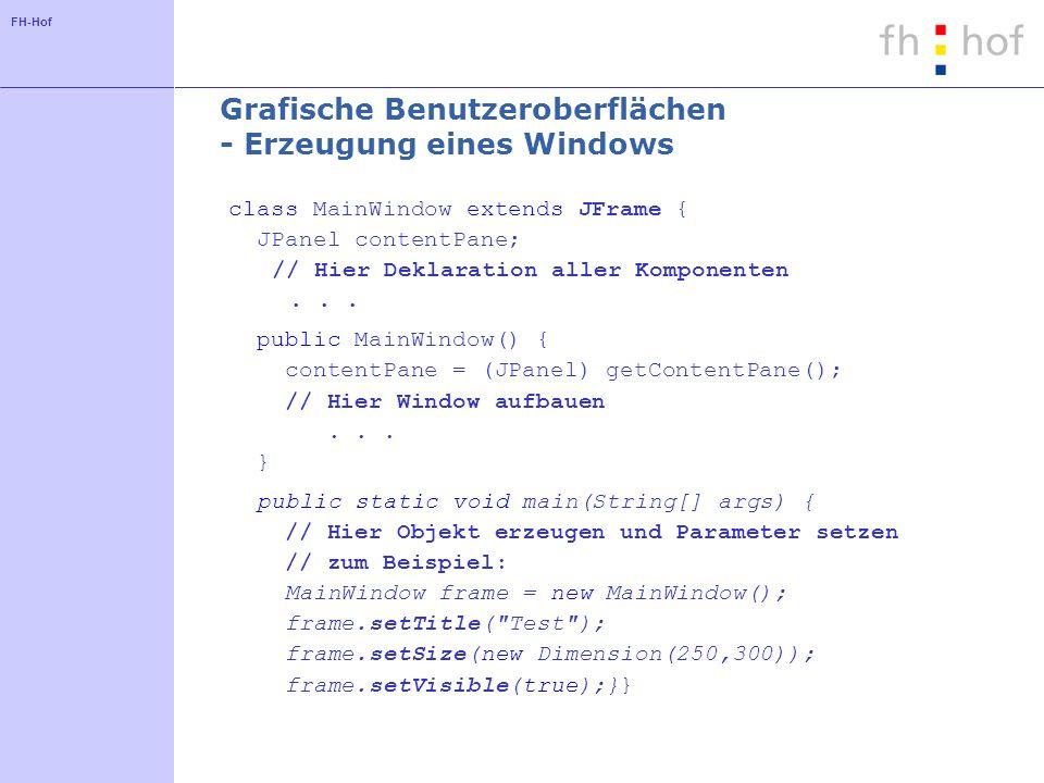 Grafische Benutzeroberflächen - Erzeugung eines Windows