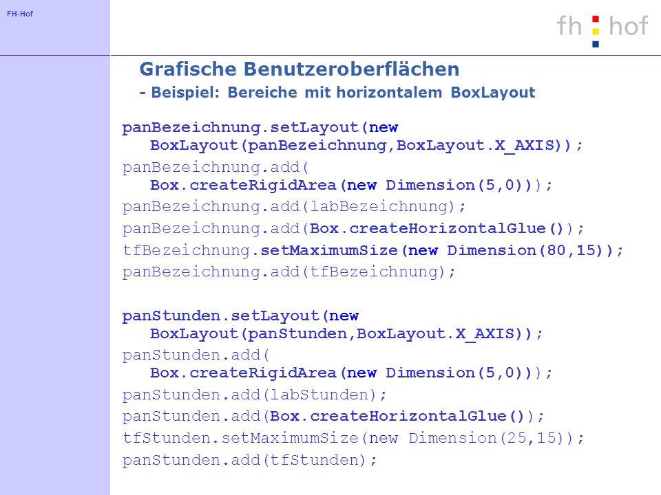 Grafische Benutzeroberflächen - Beispiel: Bereiche mit horizontalem BoxLayout