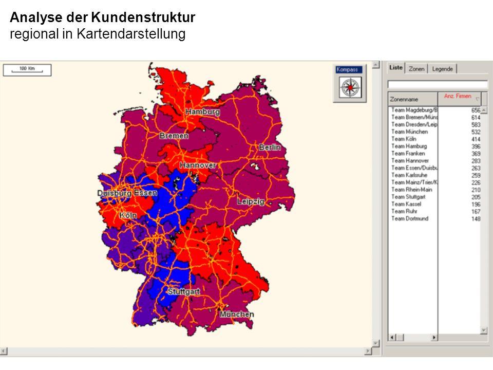 Analyse der Kundenstruktur regional in Kartendarstellung