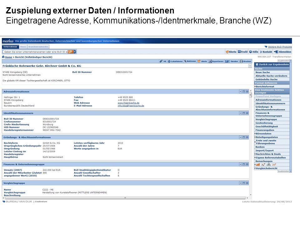 Zuspielung externer Daten / Informationen Eingetragene Adresse, Kommunikations-/Identmerkmale, Branche (WZ)