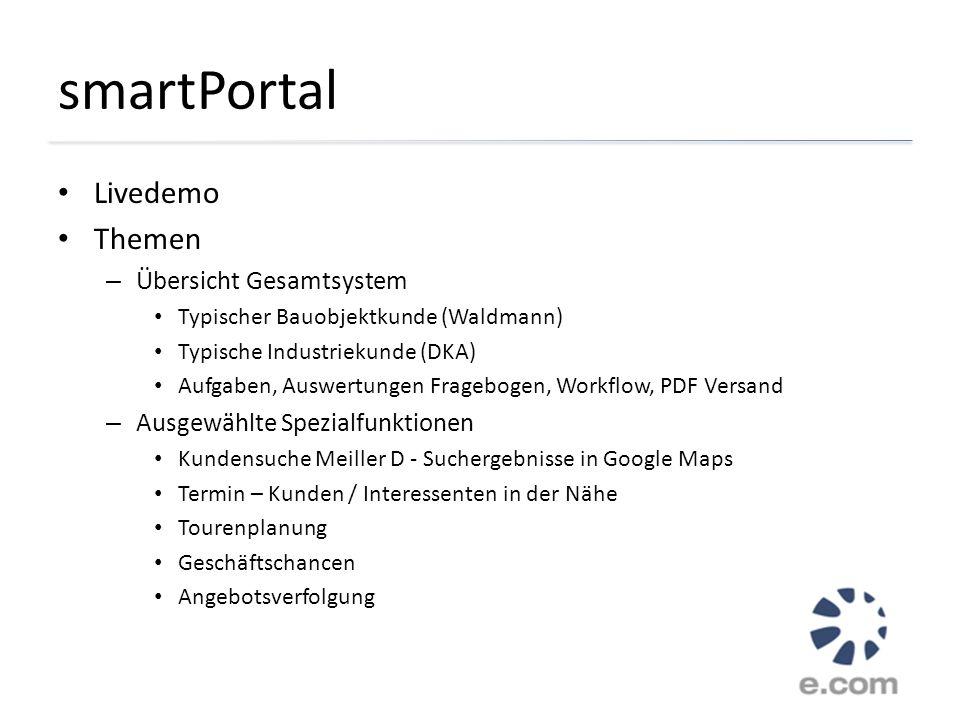smartPortal Livedemo Themen Übersicht Gesamtsystem