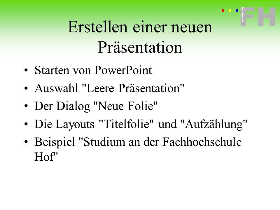 Erstellen einer neuen Präsentation