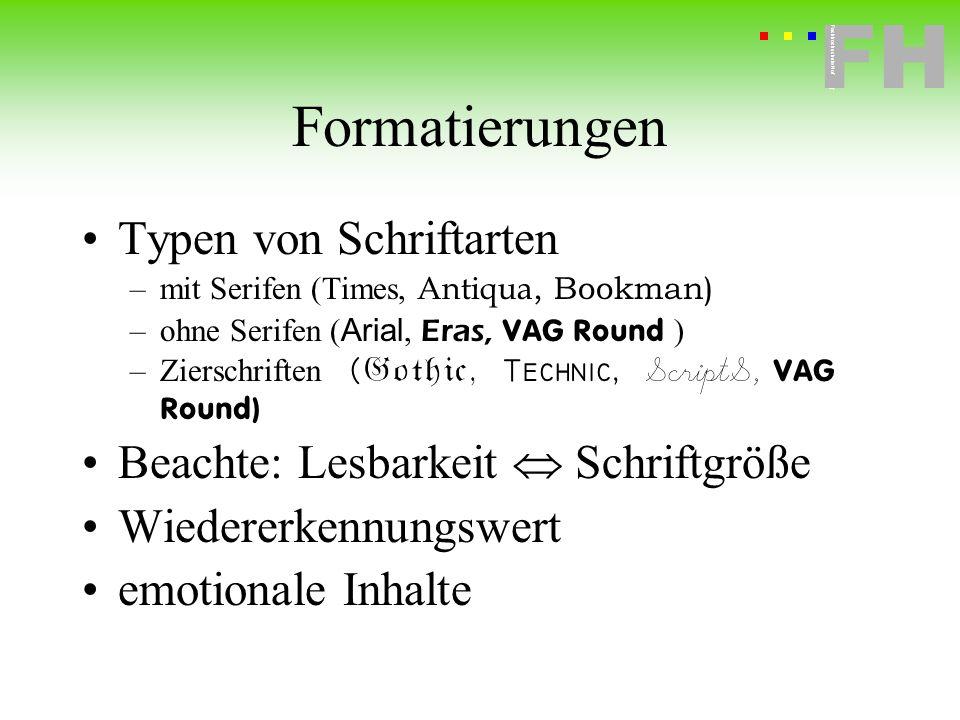 Formatierungen Typen von Schriftarten
