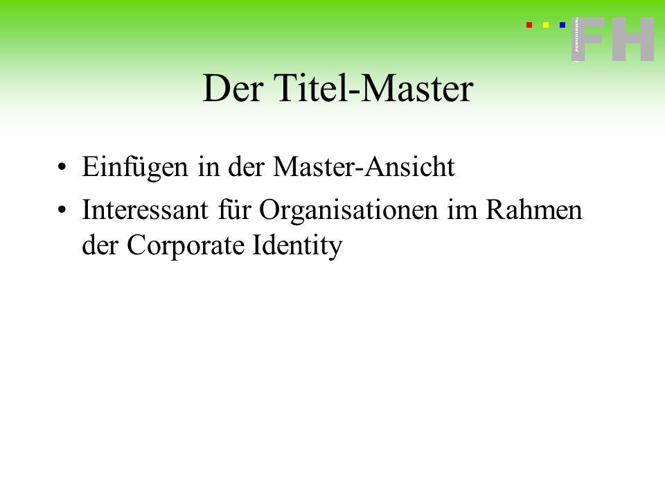 Der Titel-Master Einfügen in der Master-Ansicht