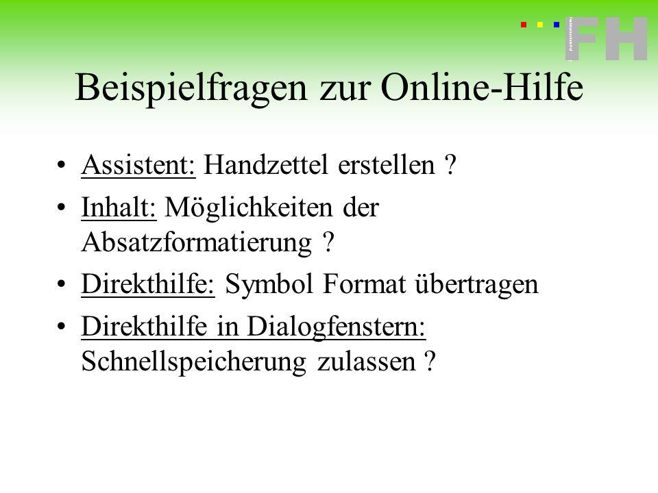 Beispielfragen zur Online-Hilfe