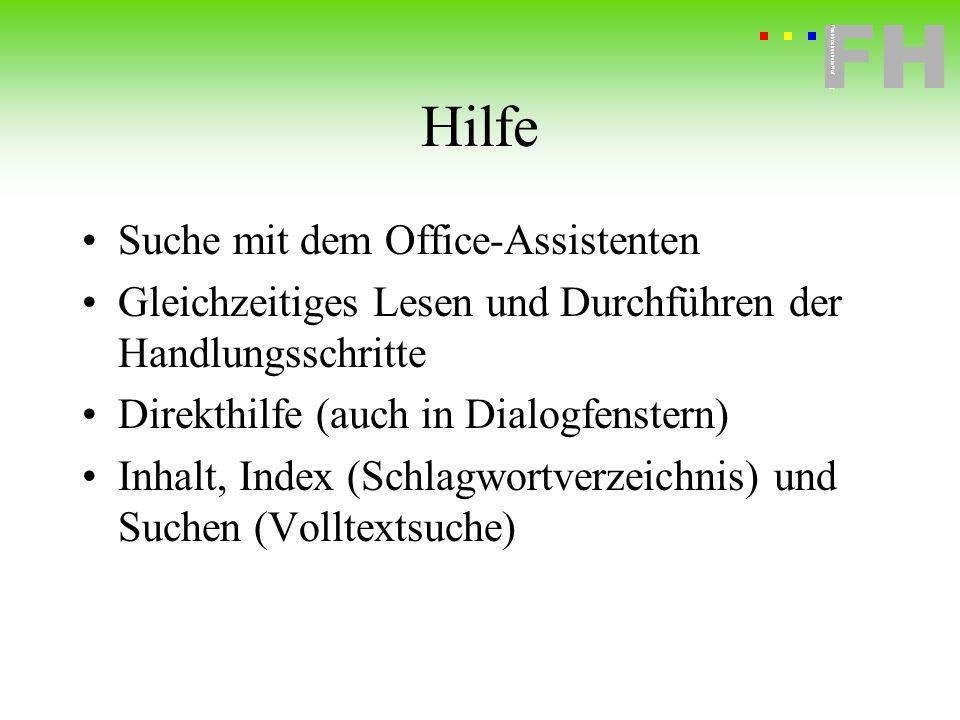 Hilfe Suche mit dem Office-Assistenten