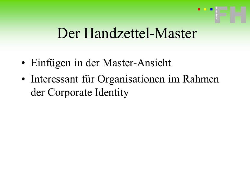 Der Handzettel-Master