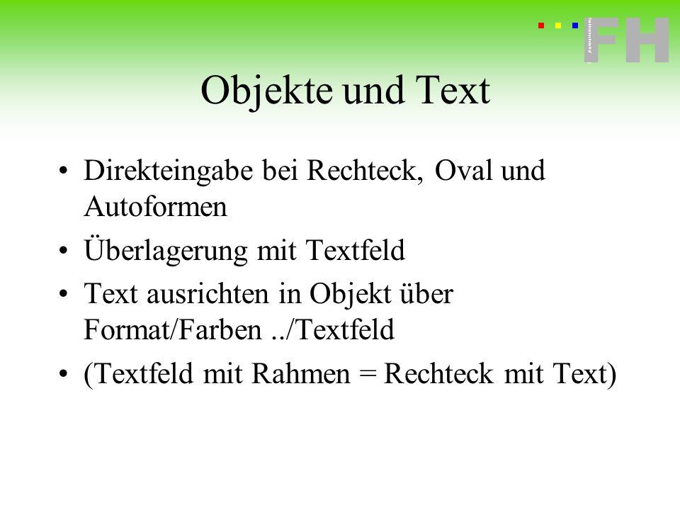 Objekte und Text Direkteingabe bei Rechteck, Oval und Autoformen