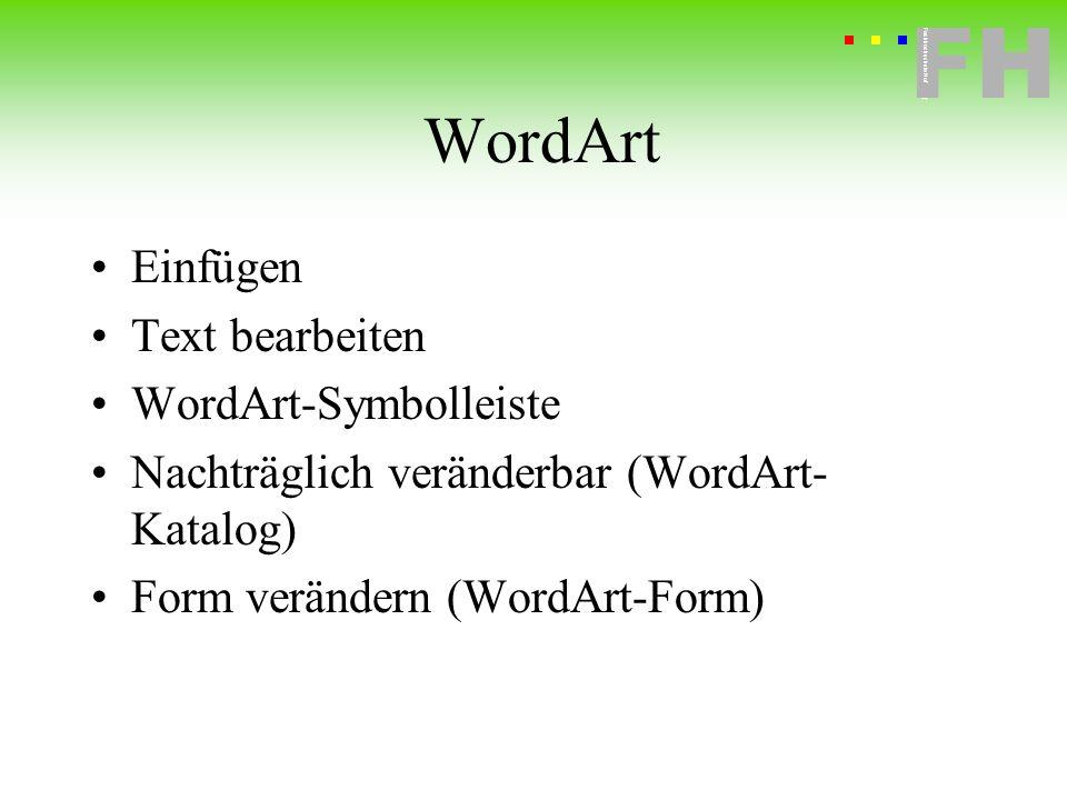 WordArt Einfügen Text bearbeiten WordArt-Symbolleiste
