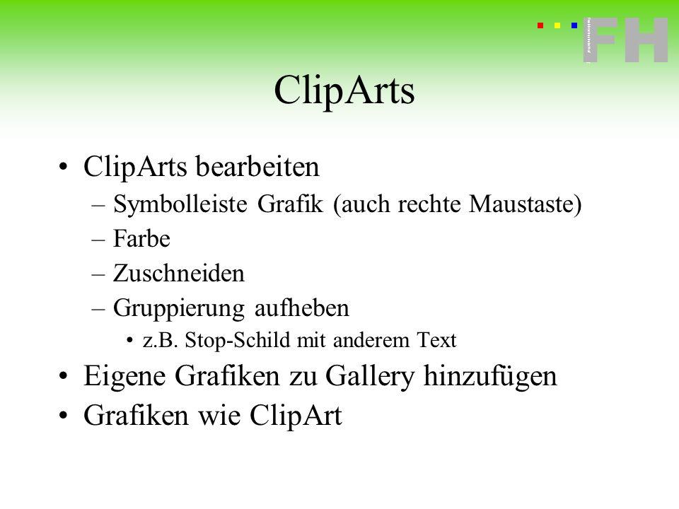 ClipArts ClipArts bearbeiten Eigene Grafiken zu Gallery hinzufügen