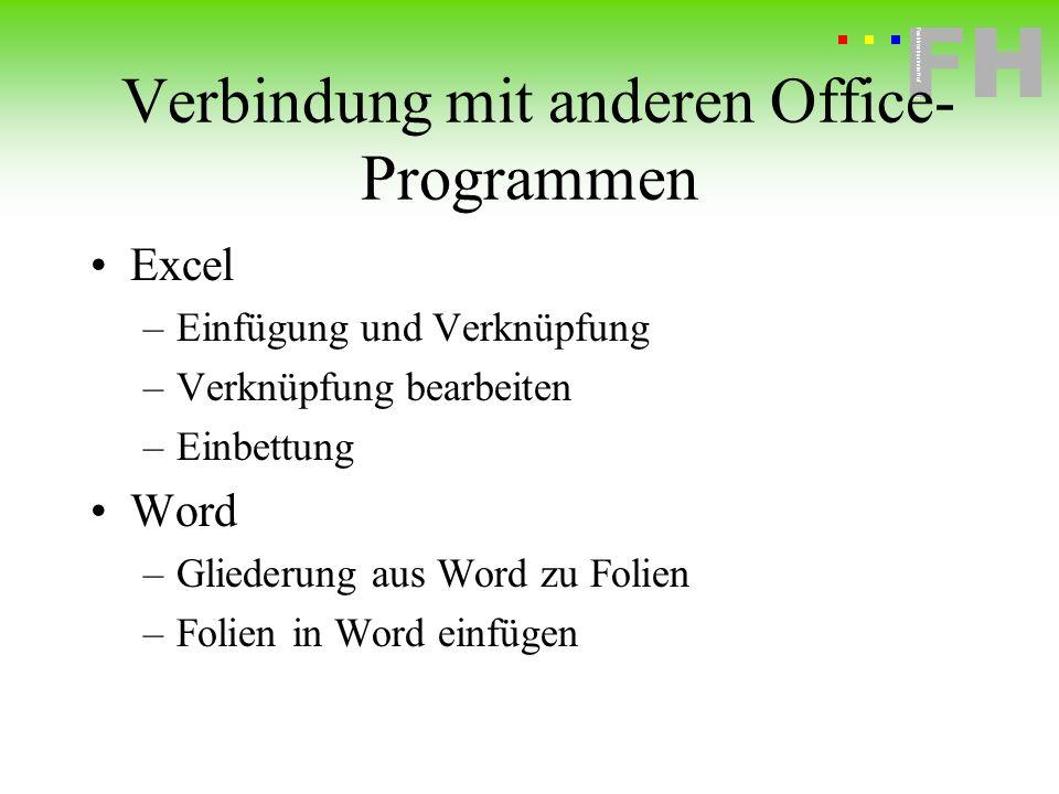 Verbindung mit anderen Office-Programmen