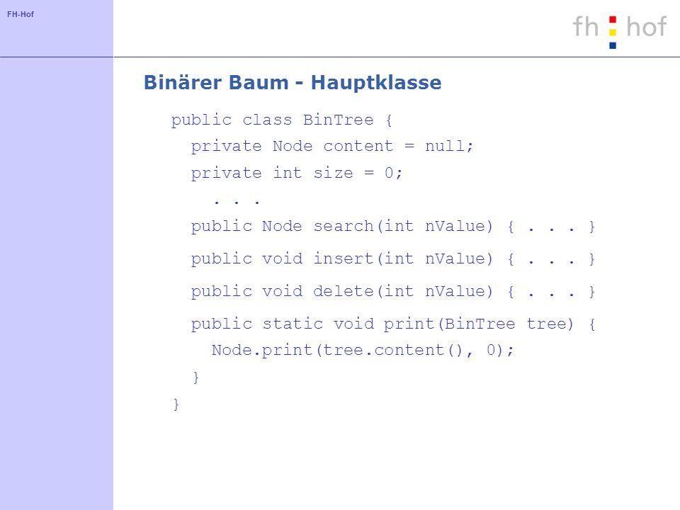 Binärer Baum - Hauptklasse