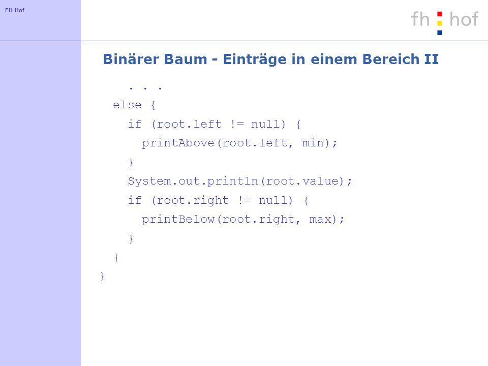 Binärer Baum - Einträge in einem Bereich II