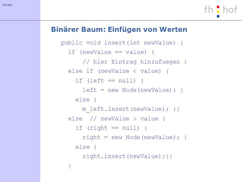 Binärer Baum: Einfügen von Werten