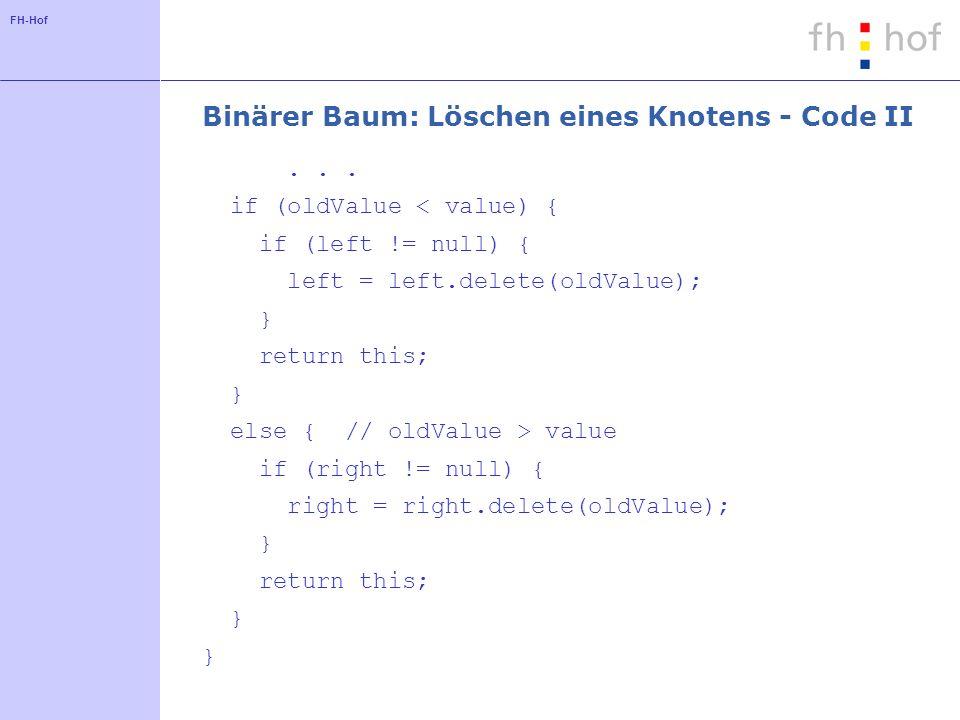 Binärer Baum: Löschen eines Knotens - Code II