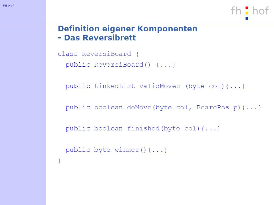 Definition eigener Komponenten - Das Reversibrett