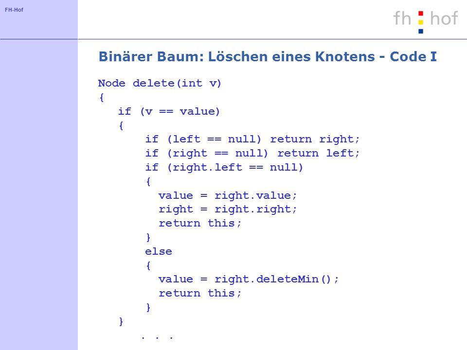 Binärer Baum: Löschen eines Knotens - Code I
