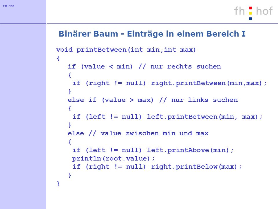 Binärer Baum - Einträge in einem Bereich I