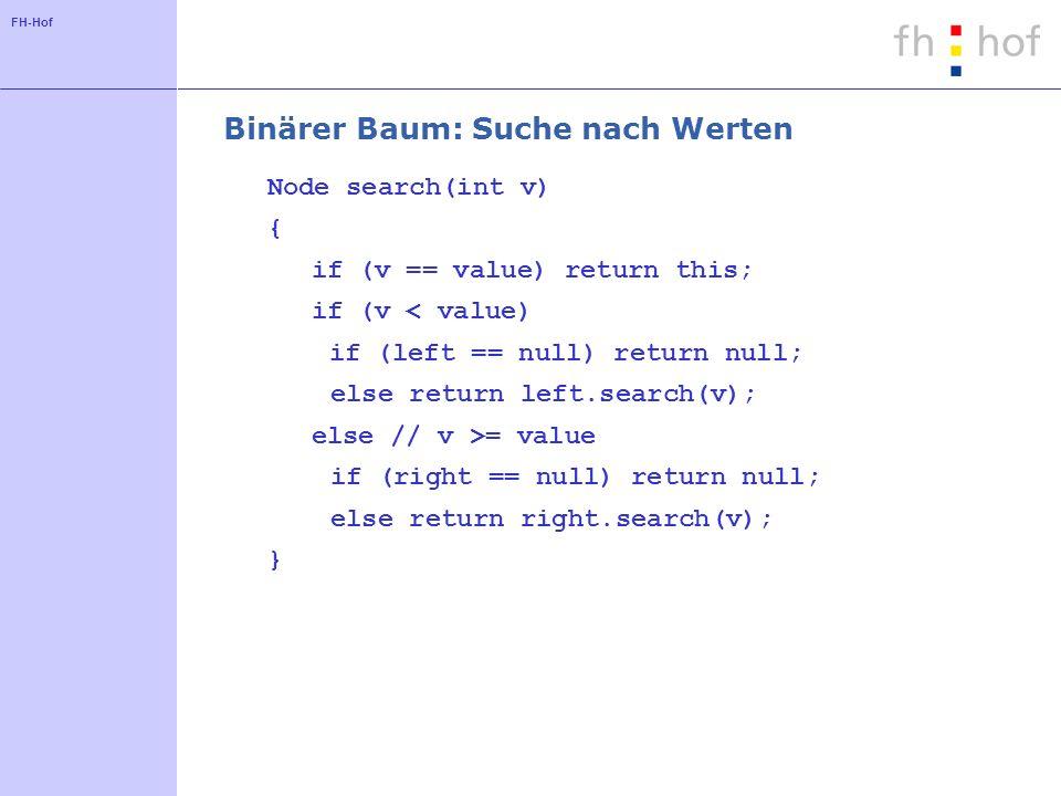 Binärer Baum: Suche nach Werten