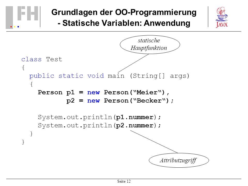 Grundlagen der OO-Programmierung - Statische Variablen: Anwendung