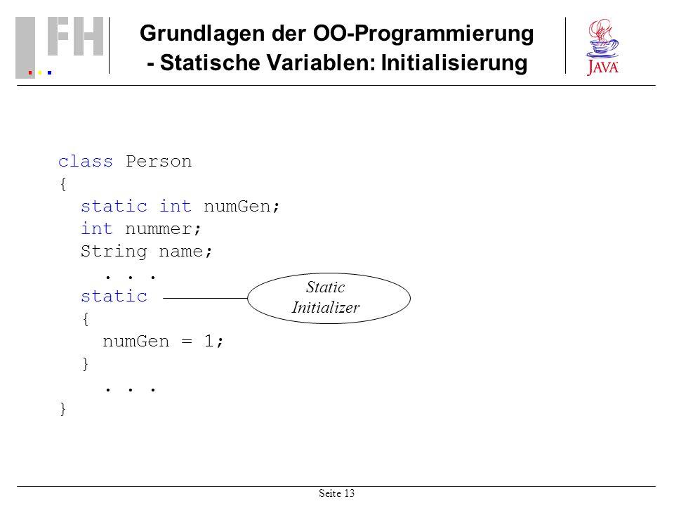 Grundlagen der OO-Programmierung - Statische Variablen: Initialisierung