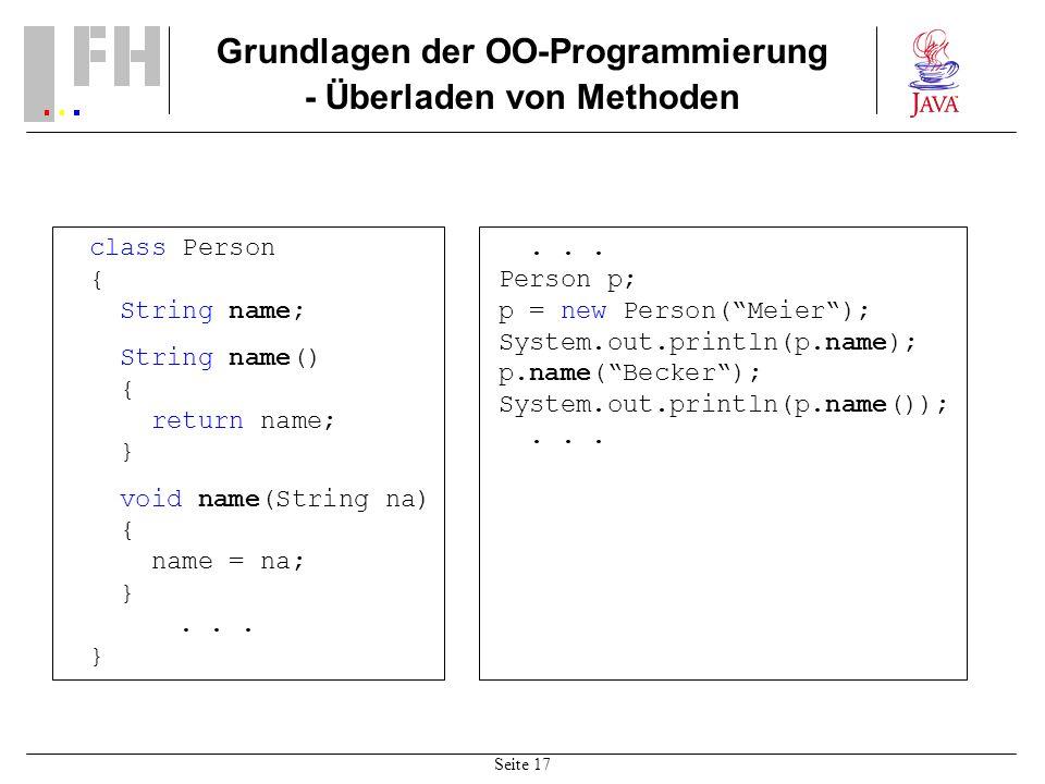 Grundlagen der OO-Programmierung - Überladen von Methoden