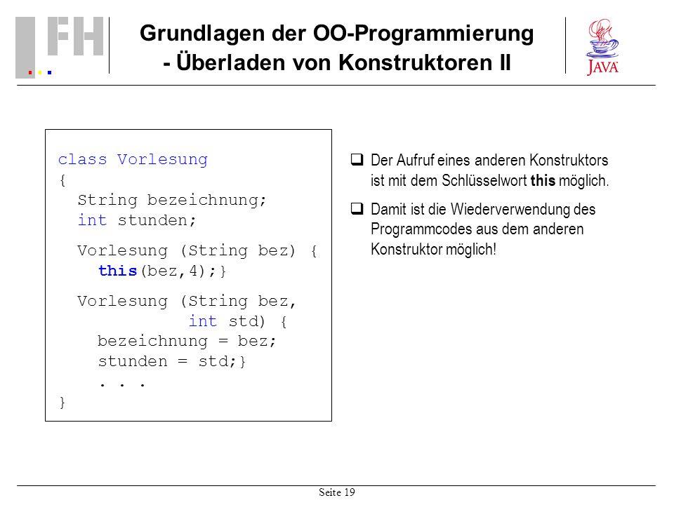 Grundlagen der OO-Programmierung - Überladen von Konstruktoren II