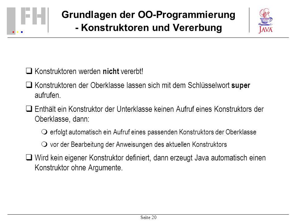 Grundlagen der OO-Programmierung - Konstruktoren und Vererbung