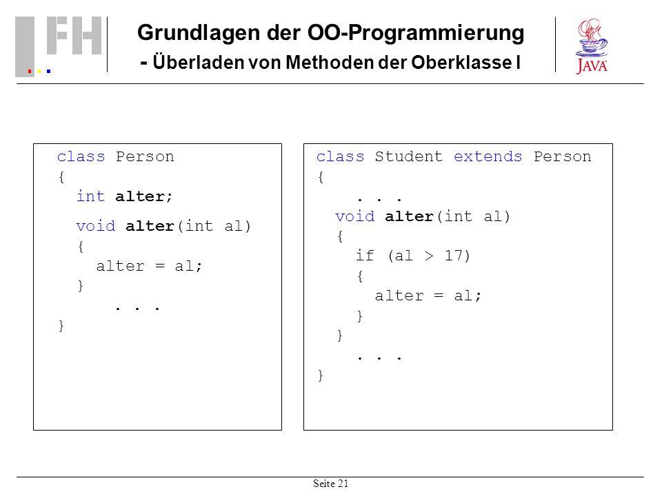 Grundlagen der OO-Programmierung - Überladen von Methoden der Oberklasse I