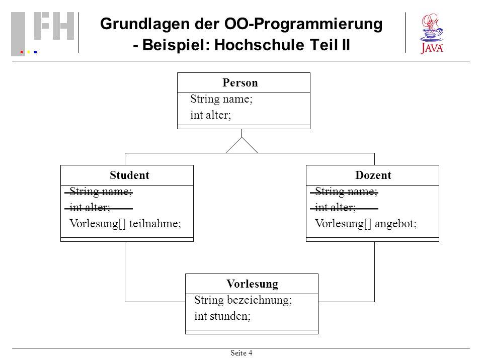 Grundlagen der OO-Programmierung - Beispiel: Hochschule Teil II