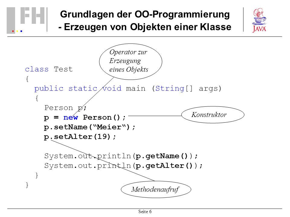 Grundlagen der OO-Programmierung - Erzeugen von Objekten einer Klasse