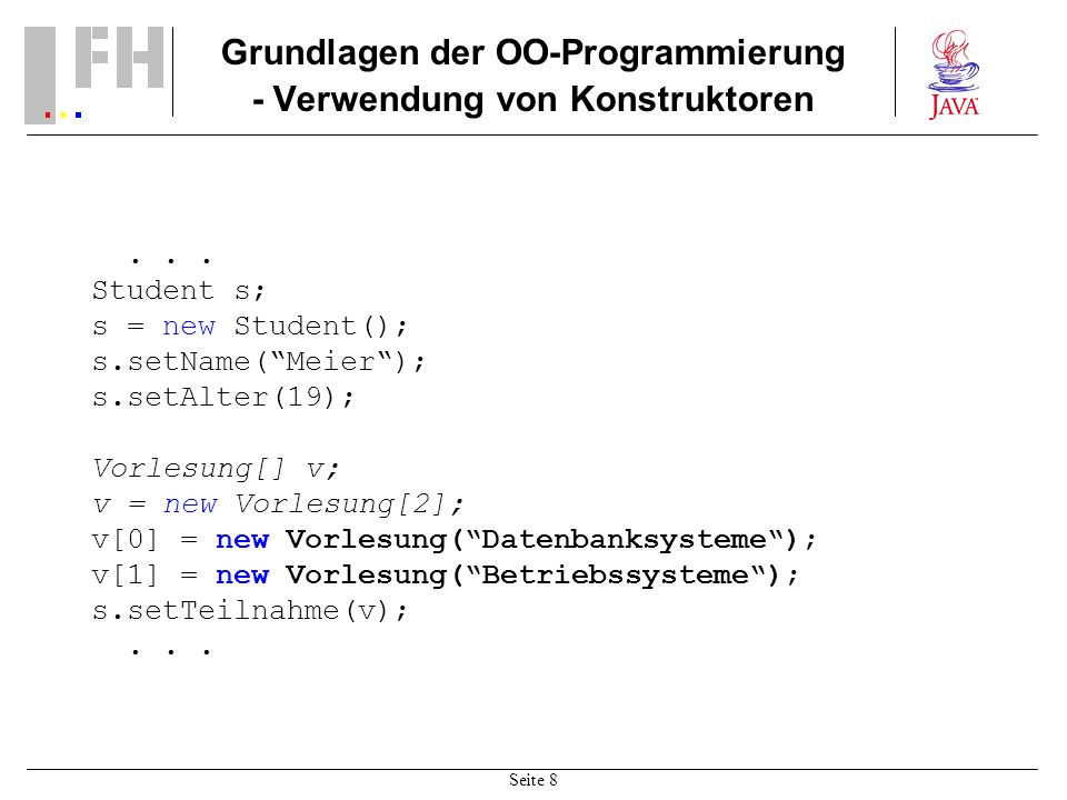 Grundlagen der OO-Programmierung - Verwendung von Konstruktoren
