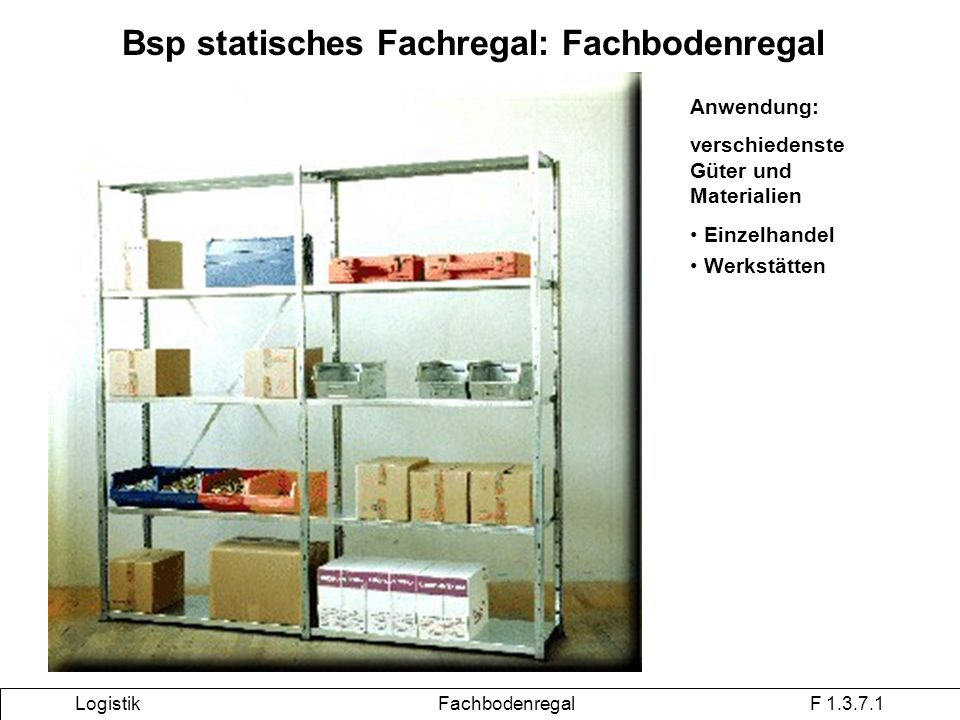 Logistik Fachbodenregal F 1.3.7.1