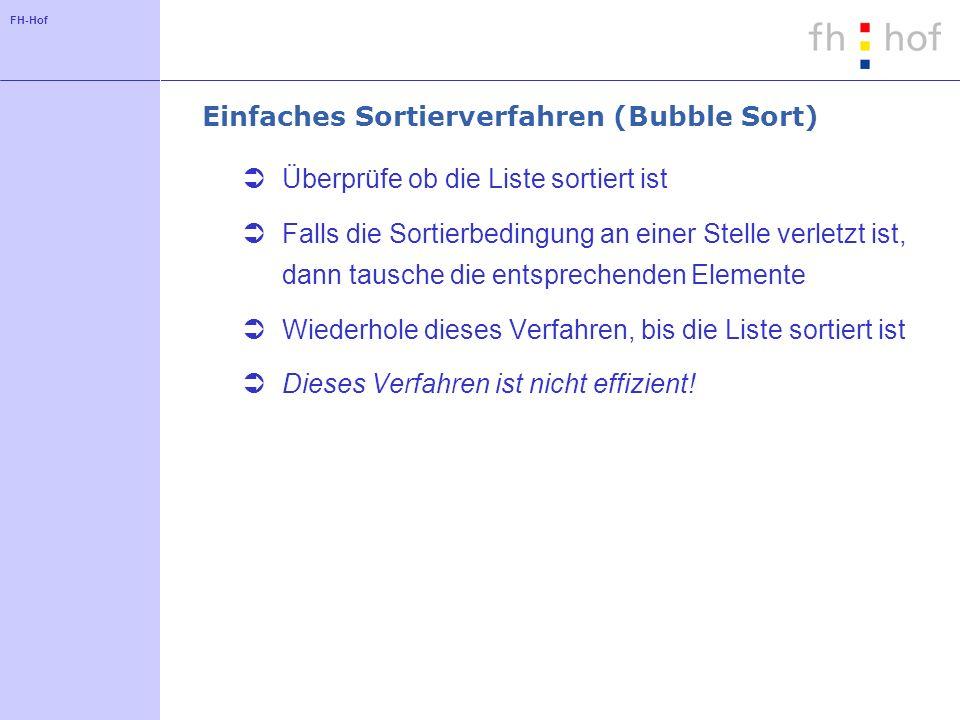 Einfaches Sortierverfahren (Bubble Sort)
