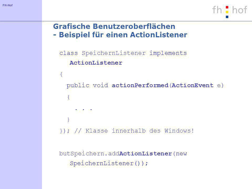 Grafische Benutzeroberflächen - Beispiel für einen ActionListener