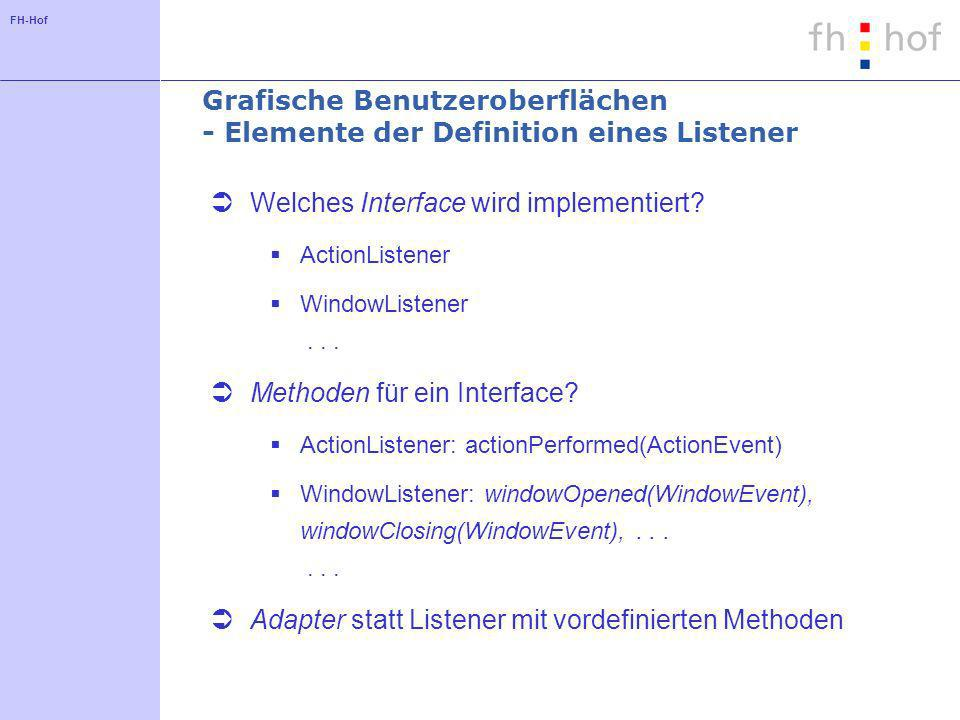 Grafische Benutzeroberflächen - Elemente der Definition eines Listener