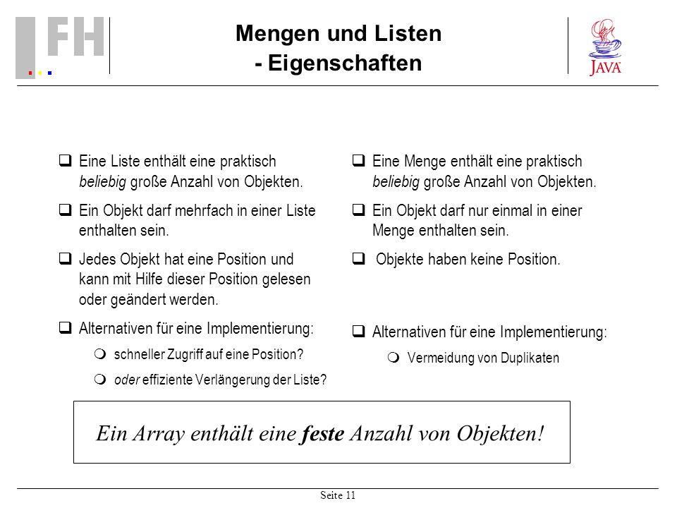 Mengen und Listen - Eigenschaften
