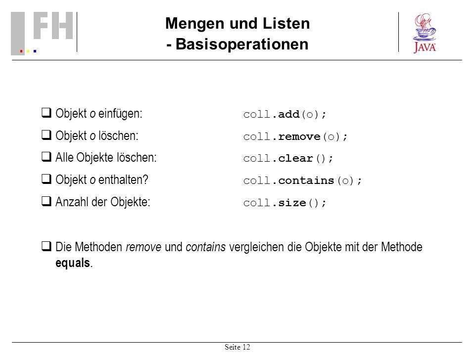 Mengen und Listen - Basisoperationen