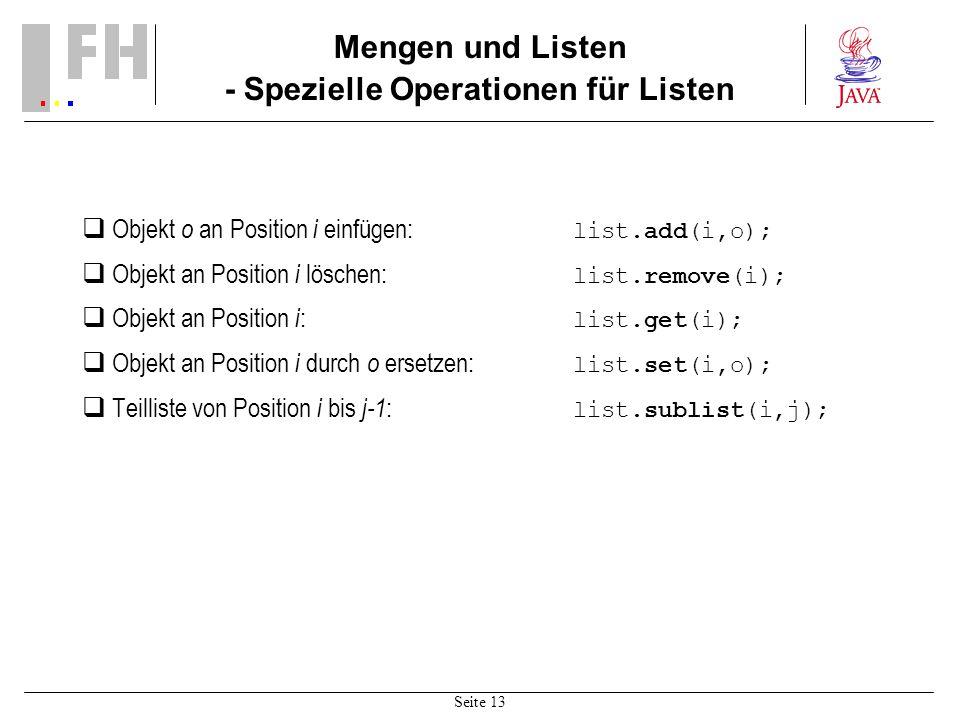 Mengen und Listen - Spezielle Operationen für Listen