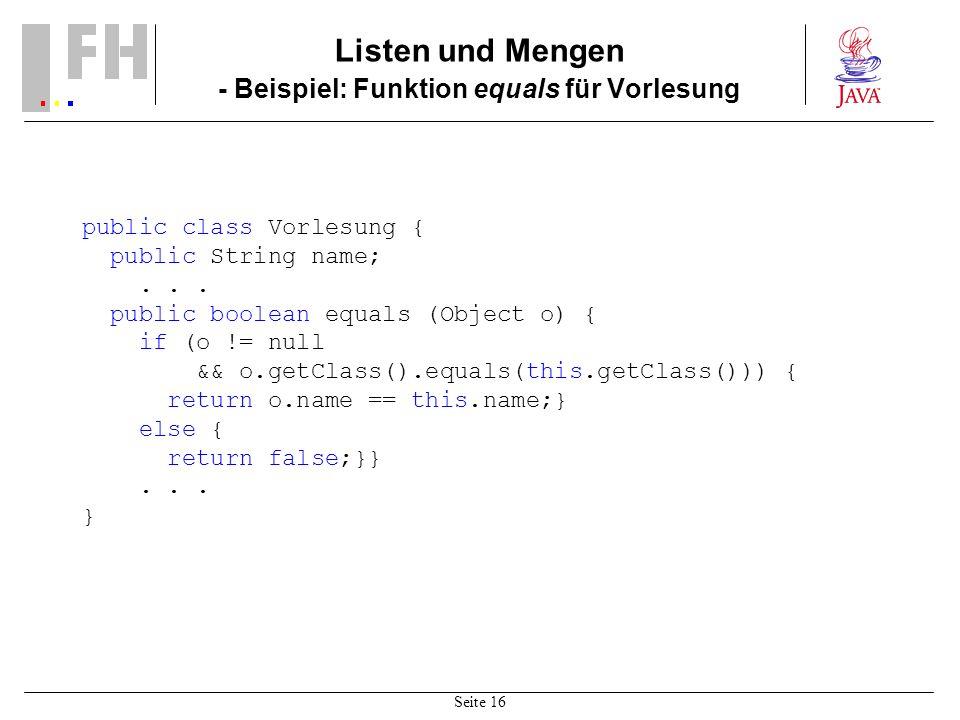 Listen und Mengen - Beispiel: Funktion equals für Vorlesung