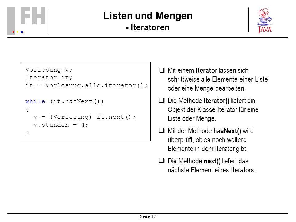 Listen und Mengen - Iteratoren