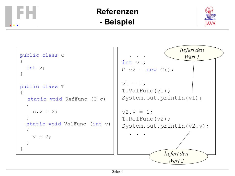 Referenzen - Beispiel liefert den Wert 1 . . . int v1; C v2 = new C();