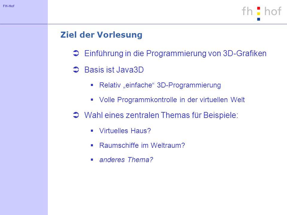 Einführung in die Programmierung von 3D-Grafiken Basis ist Java3D