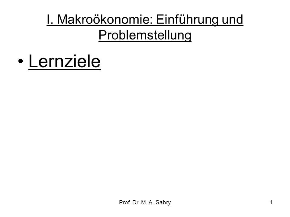 I. Makroökonomie: Einführung und Problemstellung