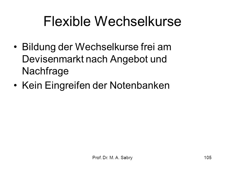 Flexible Wechselkurse