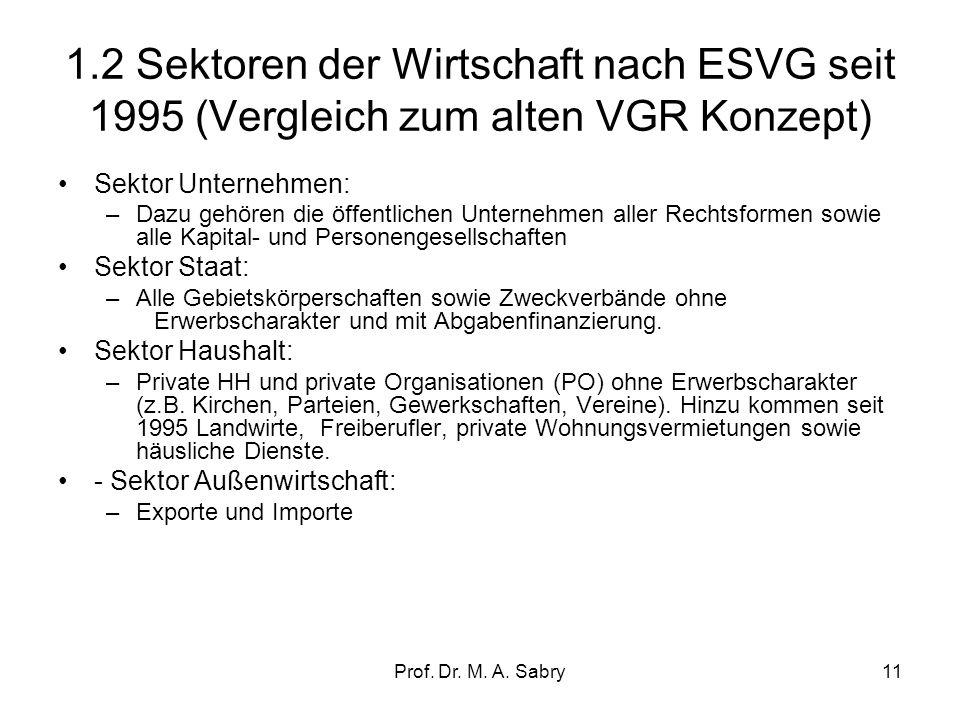 1.2 Sektoren der Wirtschaft nach ESVG seit 1995 (Vergleich zum alten VGR Konzept)
