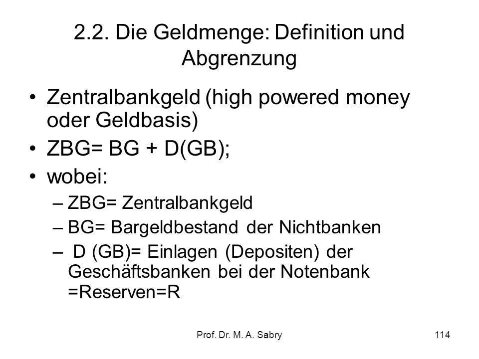 2.2. Die Geldmenge: Definition und Abgrenzung