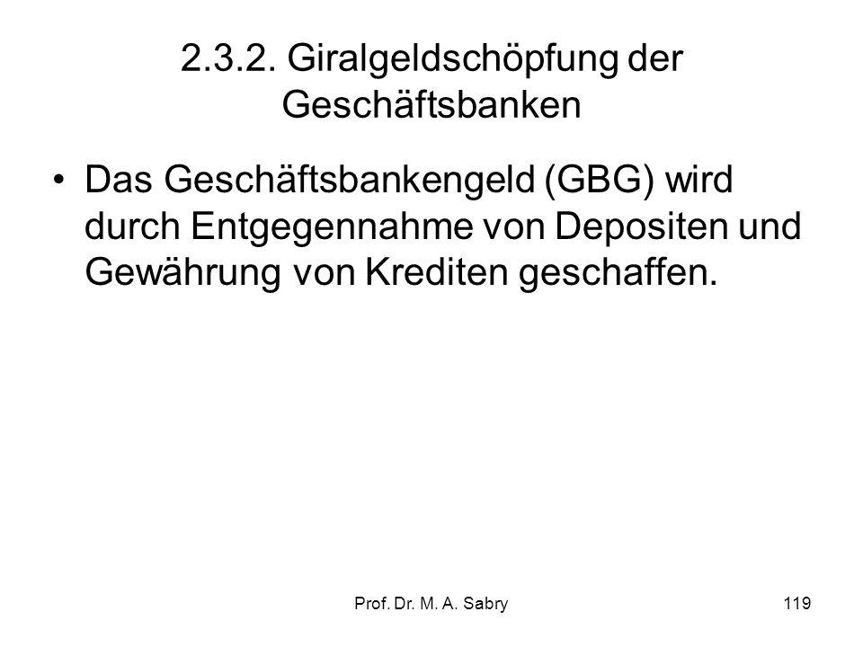 2.3.2. Giralgeldschöpfung der Geschäftsbanken